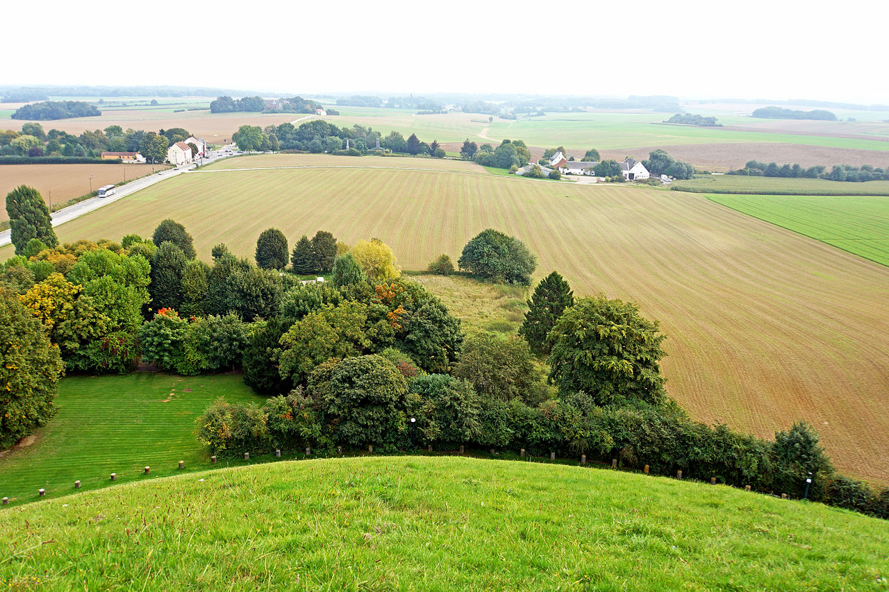 View of battlefield & La Haye Sante from the top of the Lions Mound