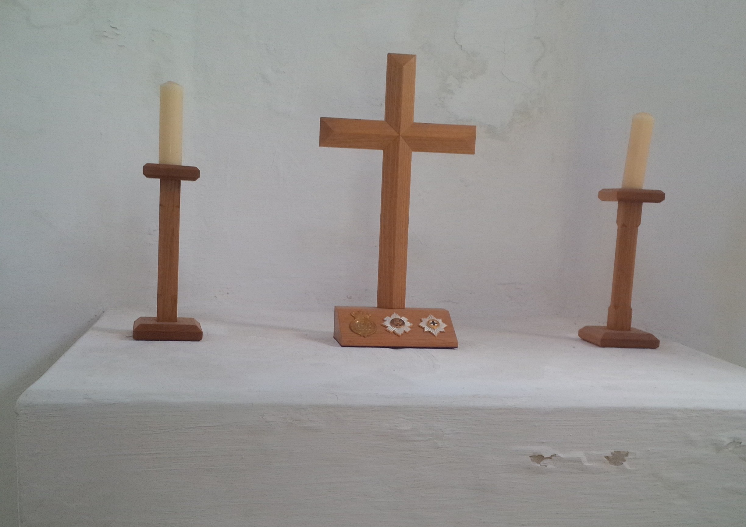 The Insignia of the Grenadier, Scots and Coldstream Guards on the Cross in the Chapel at Hougoumont