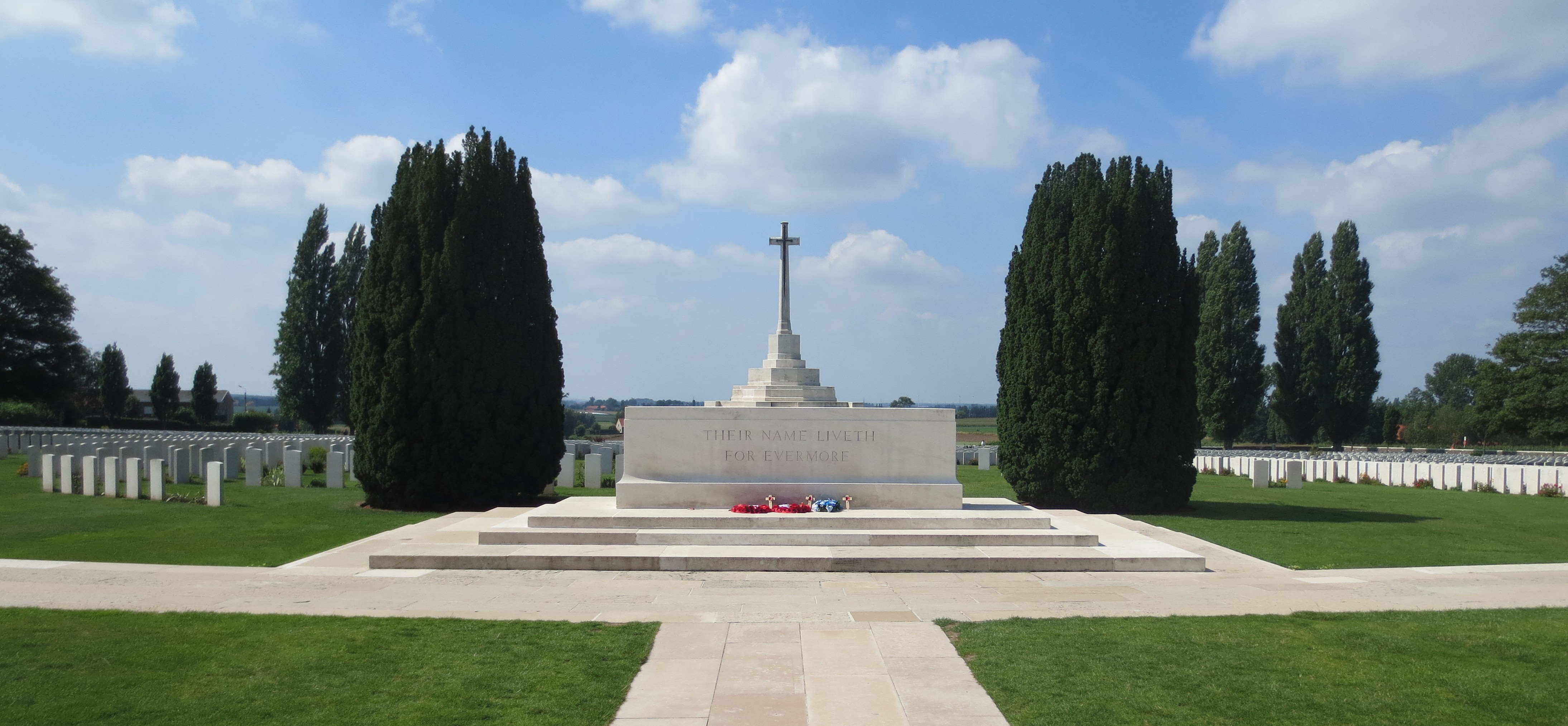 Tyne Cot Cemetery is the resting place of 11,954 soldiers of the Commonwealth Forces. This is the largest number of burials contained in any Commonwealth cemetery of either the First or Second World War. It is the largest Commonwealth military cemetery in the world.