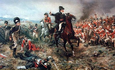 """Painting of Wellington encouraging his troops; """"Up Guards and at them again!"""""""