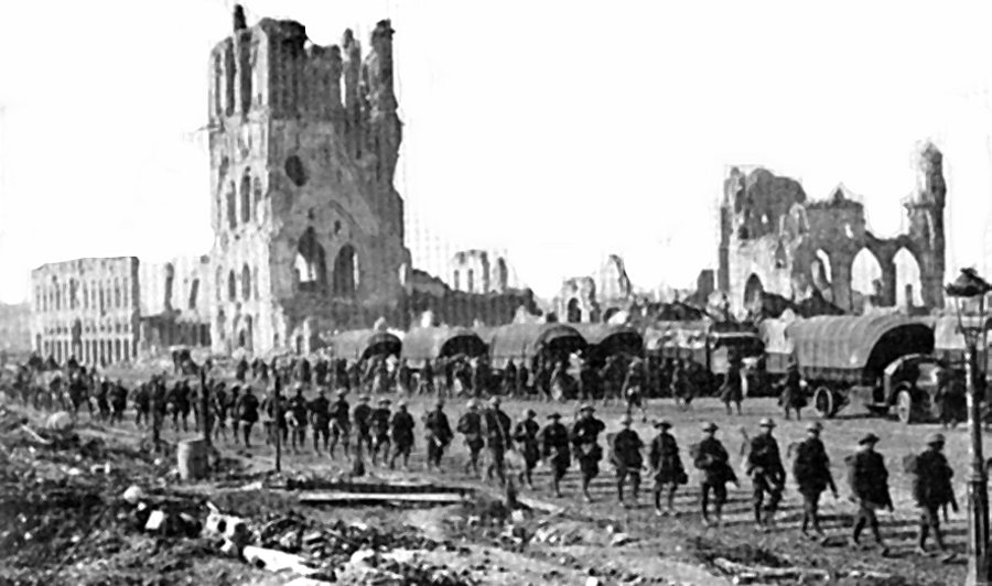 Troops march past the Cloth Hall on their way to the Menin Gate during WW1